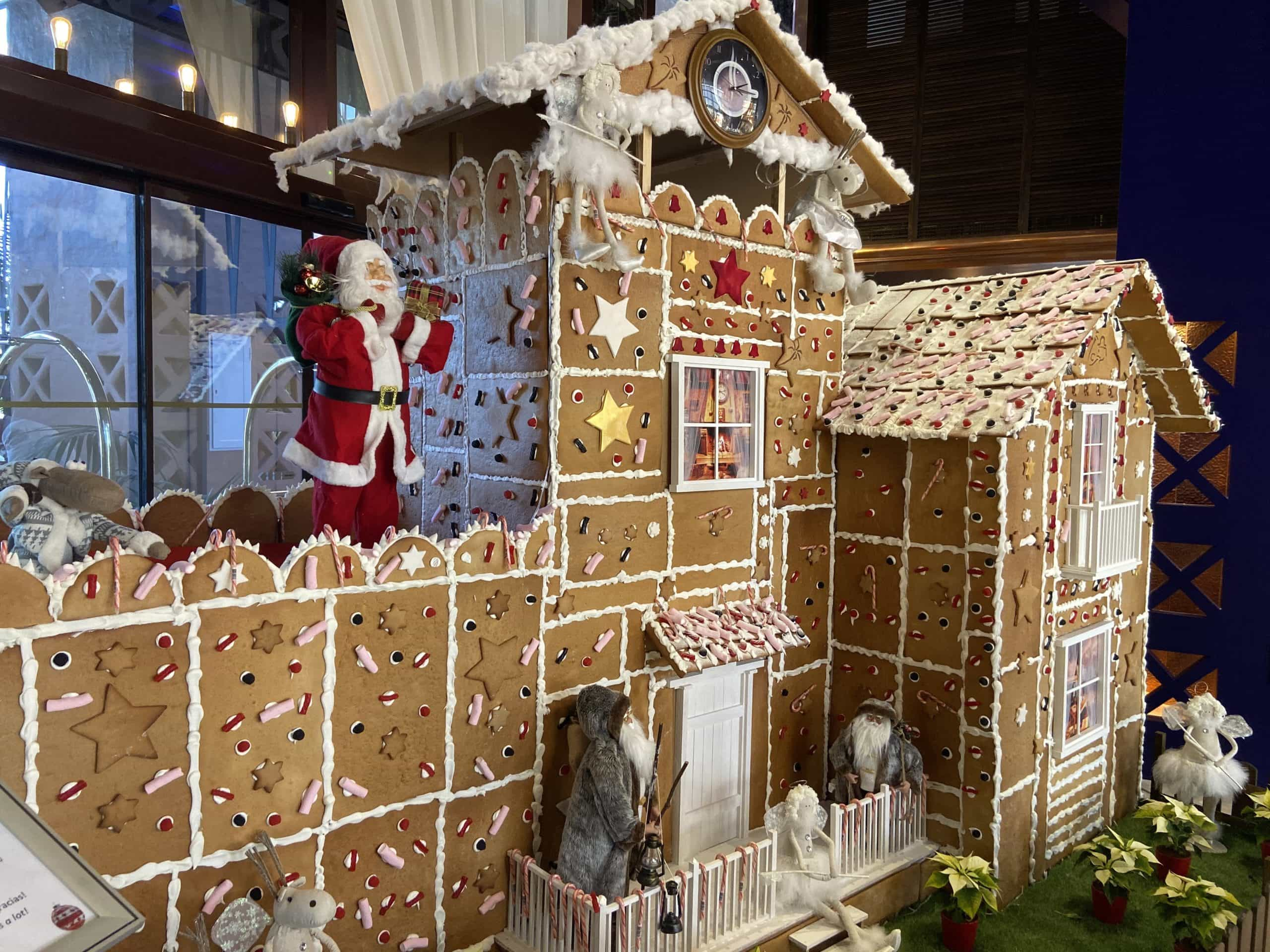 A life-size gingerbread house