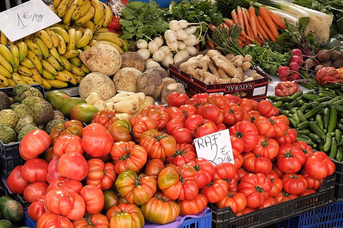 resh fruits and vegetables for sale in a local farmers market