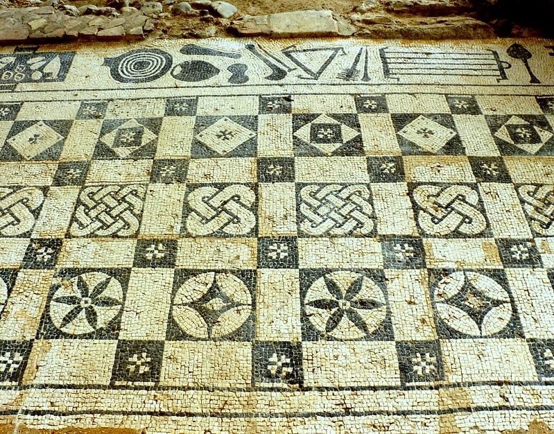Roman mosaic at Roman Villa, Rio Real, Marbella