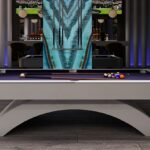The sculptural pool table in the entertainment area at Villa Alcuzcuz