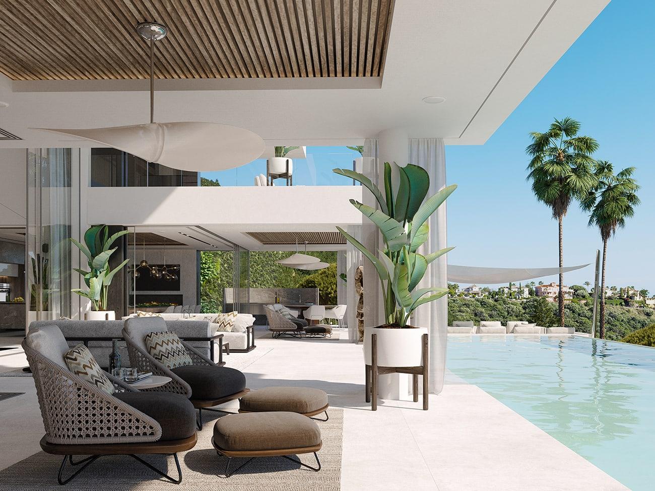 The super comfortable Rivera armchair sits well on the terraces of Villa Alcuzcuz