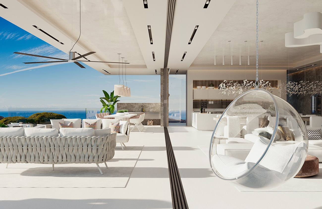 The famous Bubble Chair hangs in the living room at Vista Lago Residences