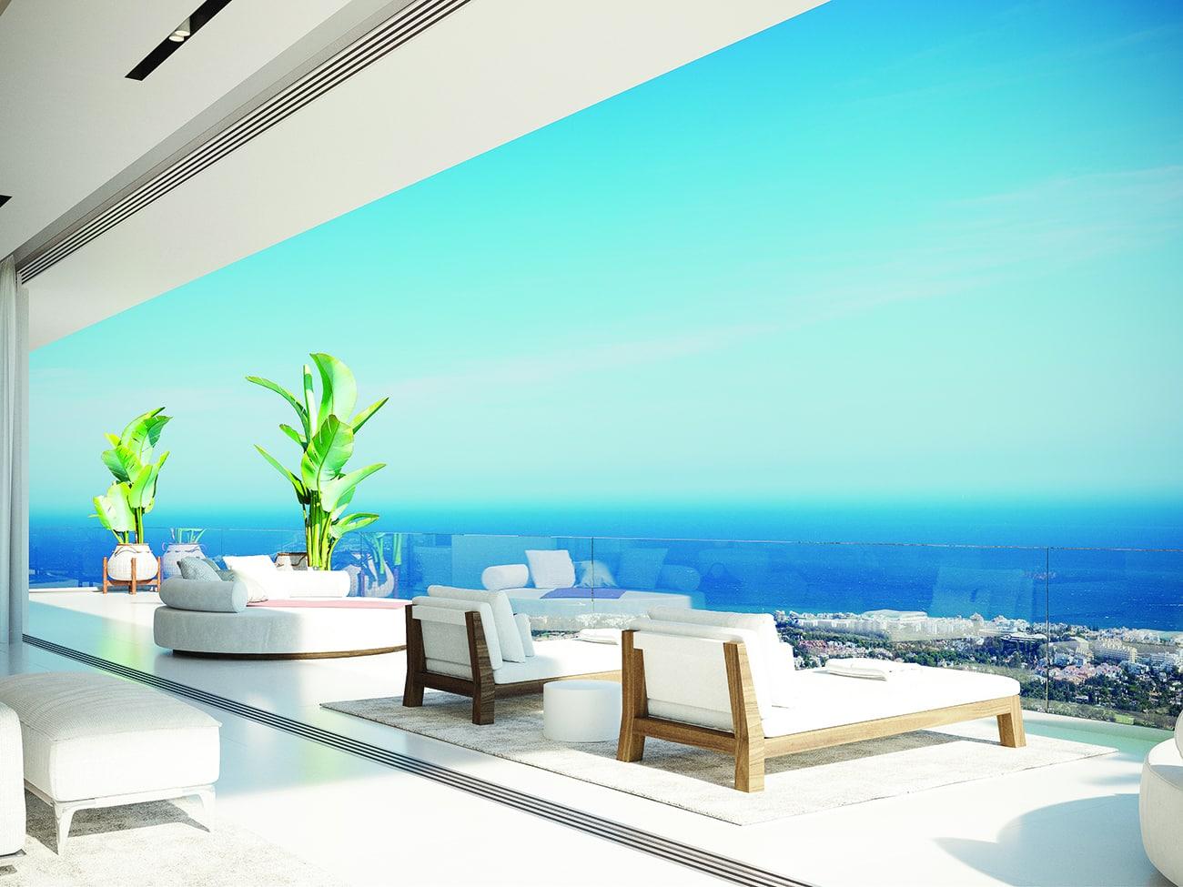 The master bedroom terrace enjoys fabulous views over the Mediterranean