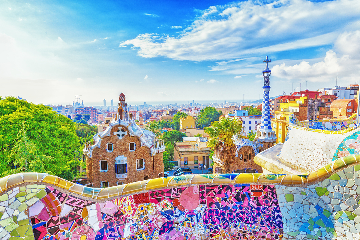 Barcelona, Spain, Park Guell. Fanrastic view of famous bench in
