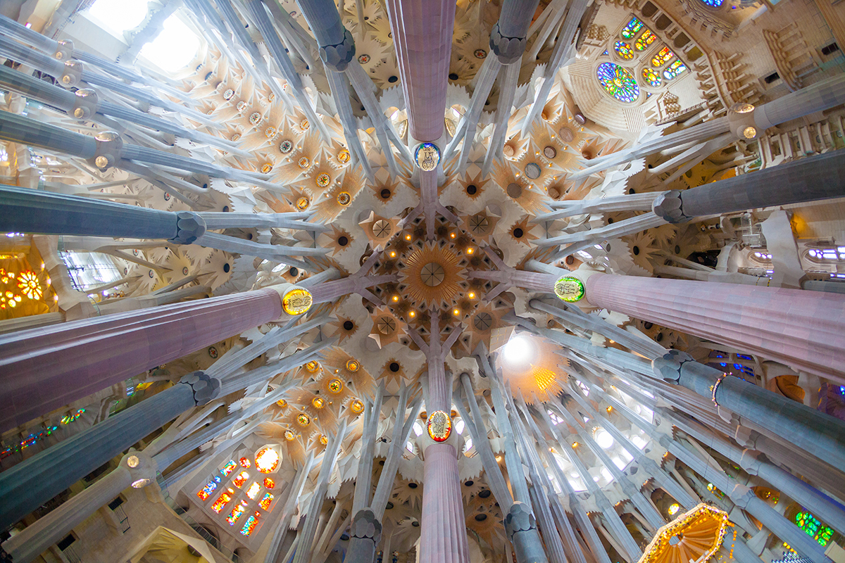 BARCELONA, SPAIN - FEBRUARY 27: Sagrada Familia, interior view o