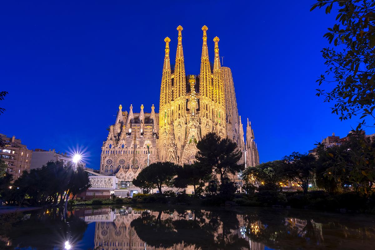 Sagrada Familia Cathedral at night, Barcelona, Spain