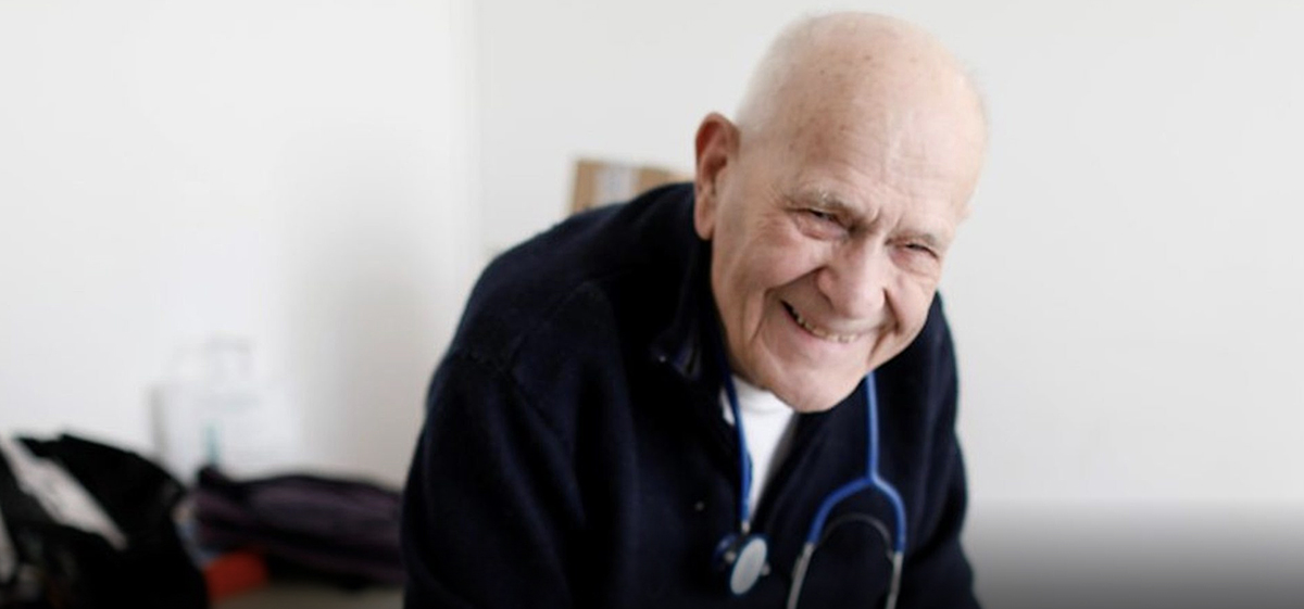 Dr Christian Chenay is almost 99 years old yet continues to work everyday, despite the dangers