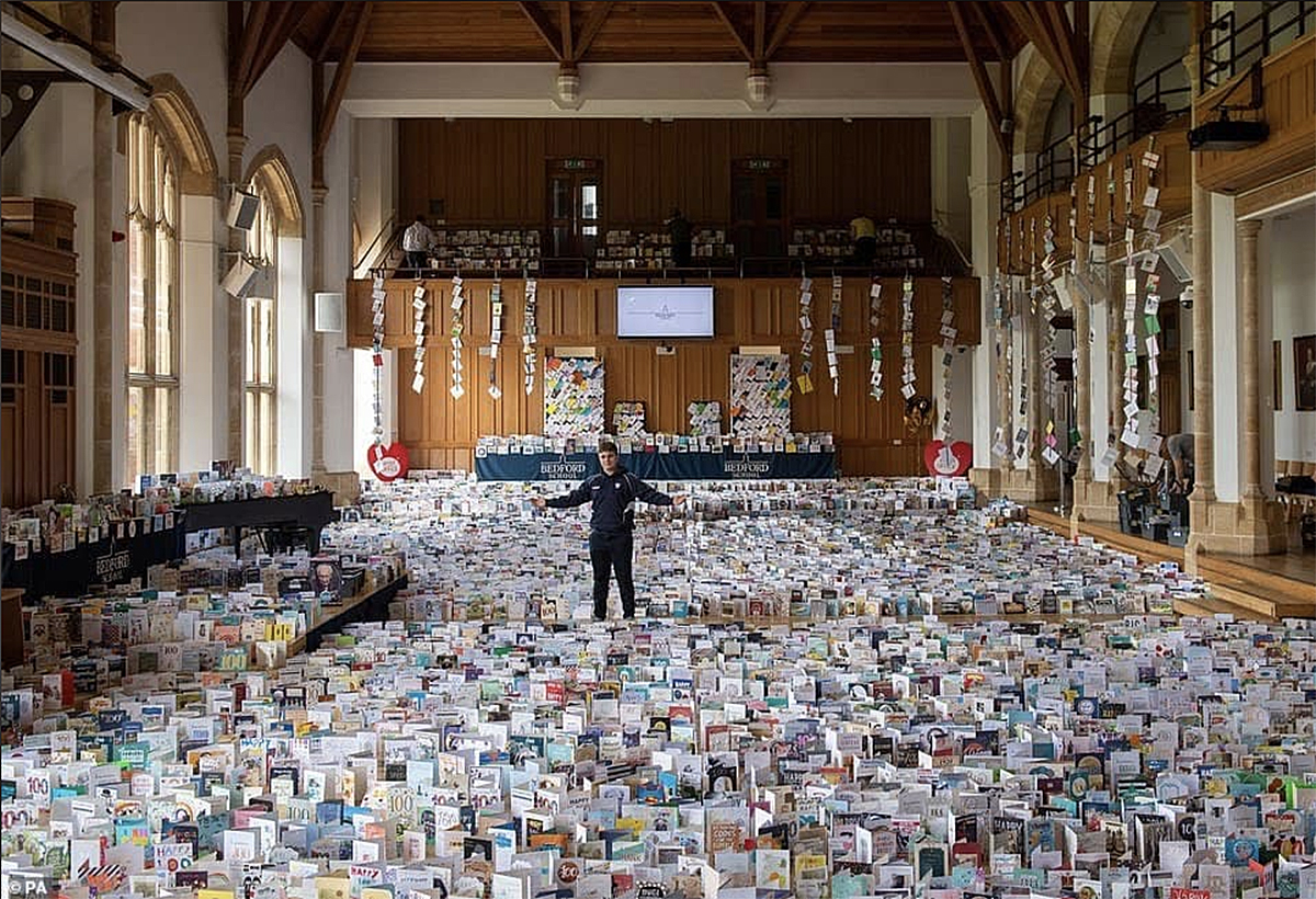 A school hall is filled with over 120,000 birthday and thank you cards for Captain Tom Moore
