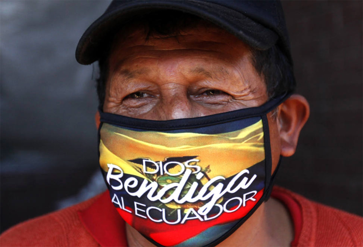 "The mask reads ""God Bless Ecuador"""