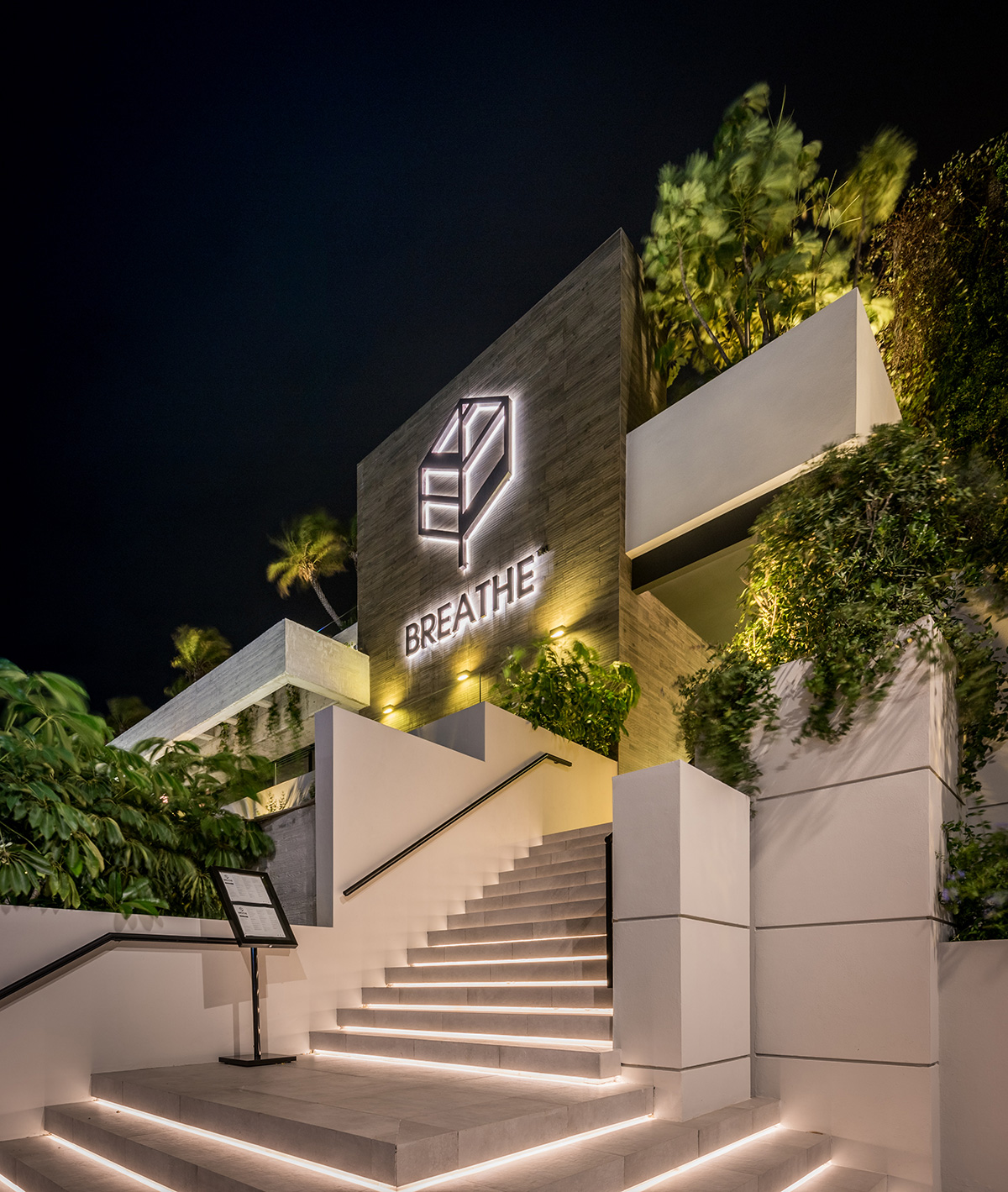 The beautiful façade of Marbella's popular healthy restaurant & gastro bar, architecture by González & Jacobson