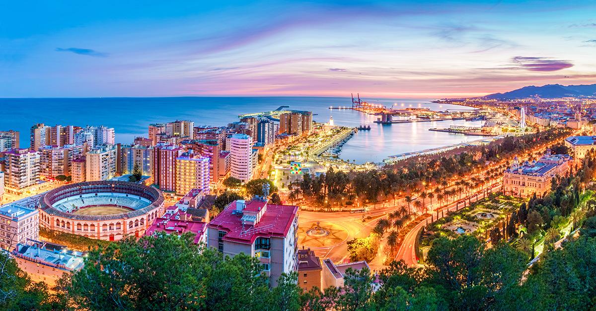 Malaga city and port view from Gibralfaro