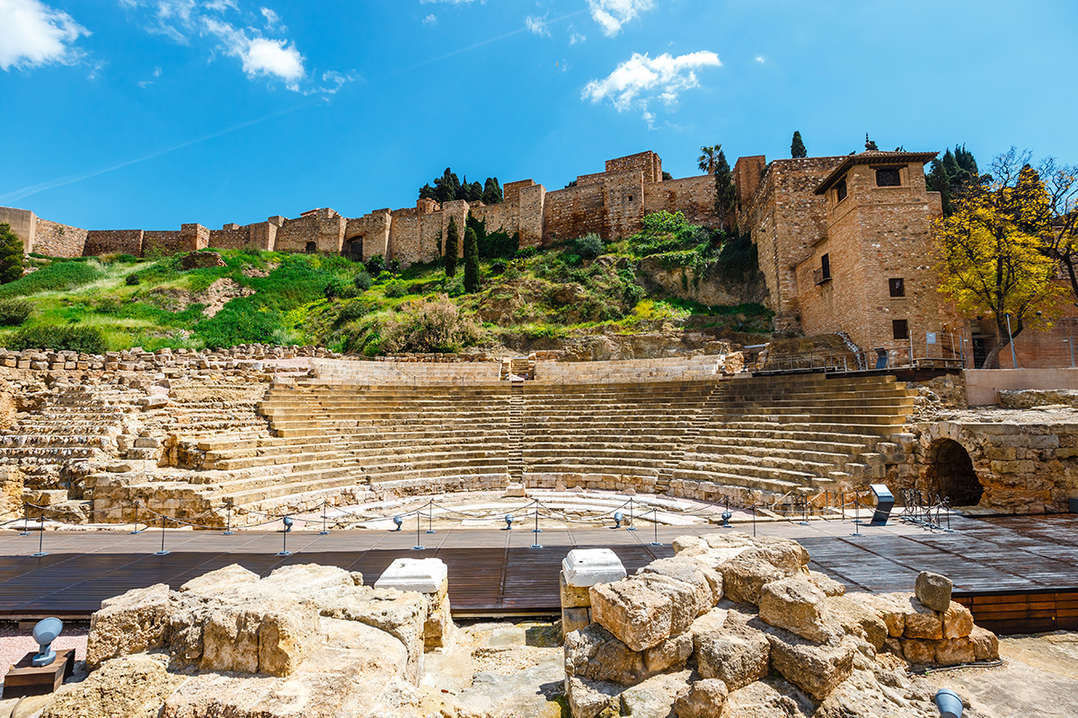 The extensive remains of a Roman Theatre sit below the Alcazaba