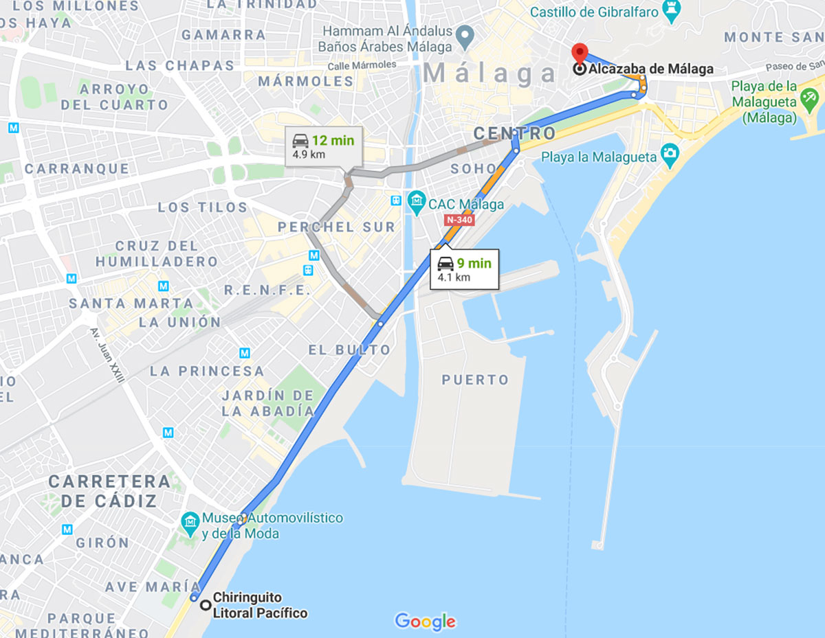 Route from the Litoral Pacifico Chiringuito to the Alcazaba
