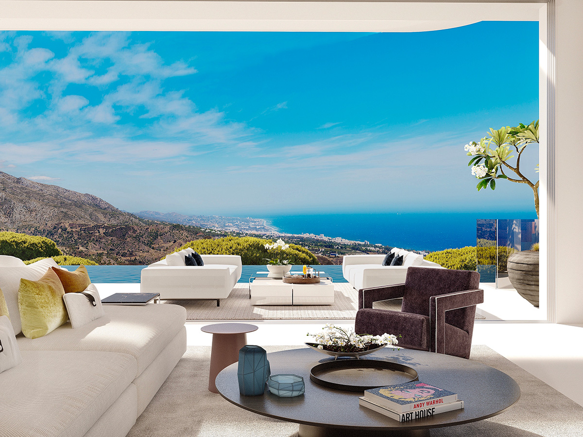 The view from Villa 1 at Vista Lago Residences overlooks Marbella