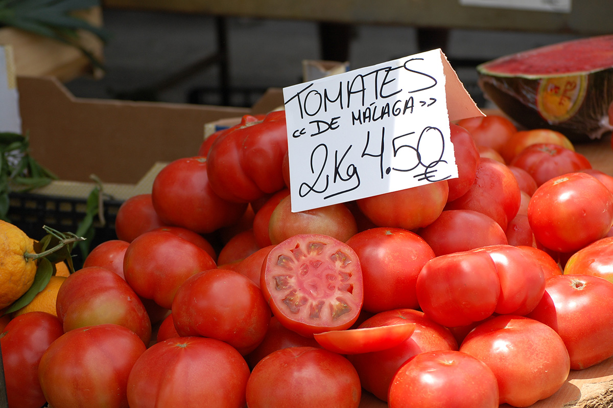 Fresh, juicy tomatoes from Málaga on sale at Marbella's market