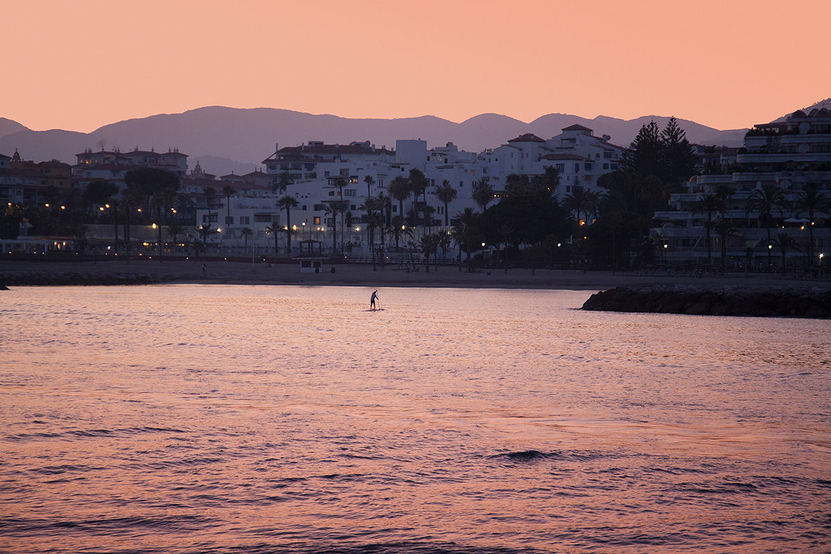 Paddle-Boarding at sunset close to Puerto Banus