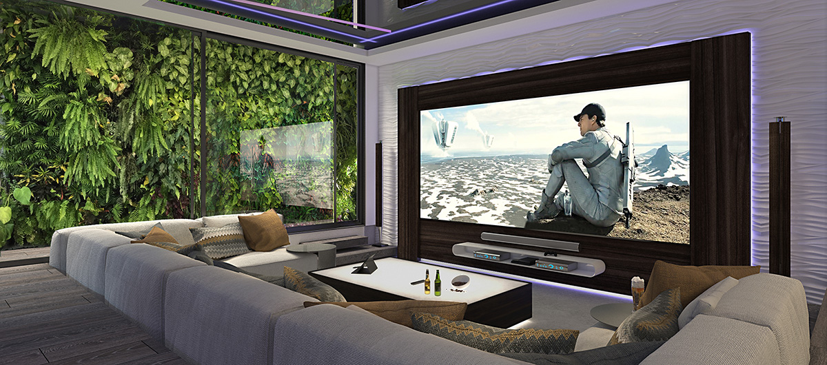 This entertainment room features a living green wall on one side
