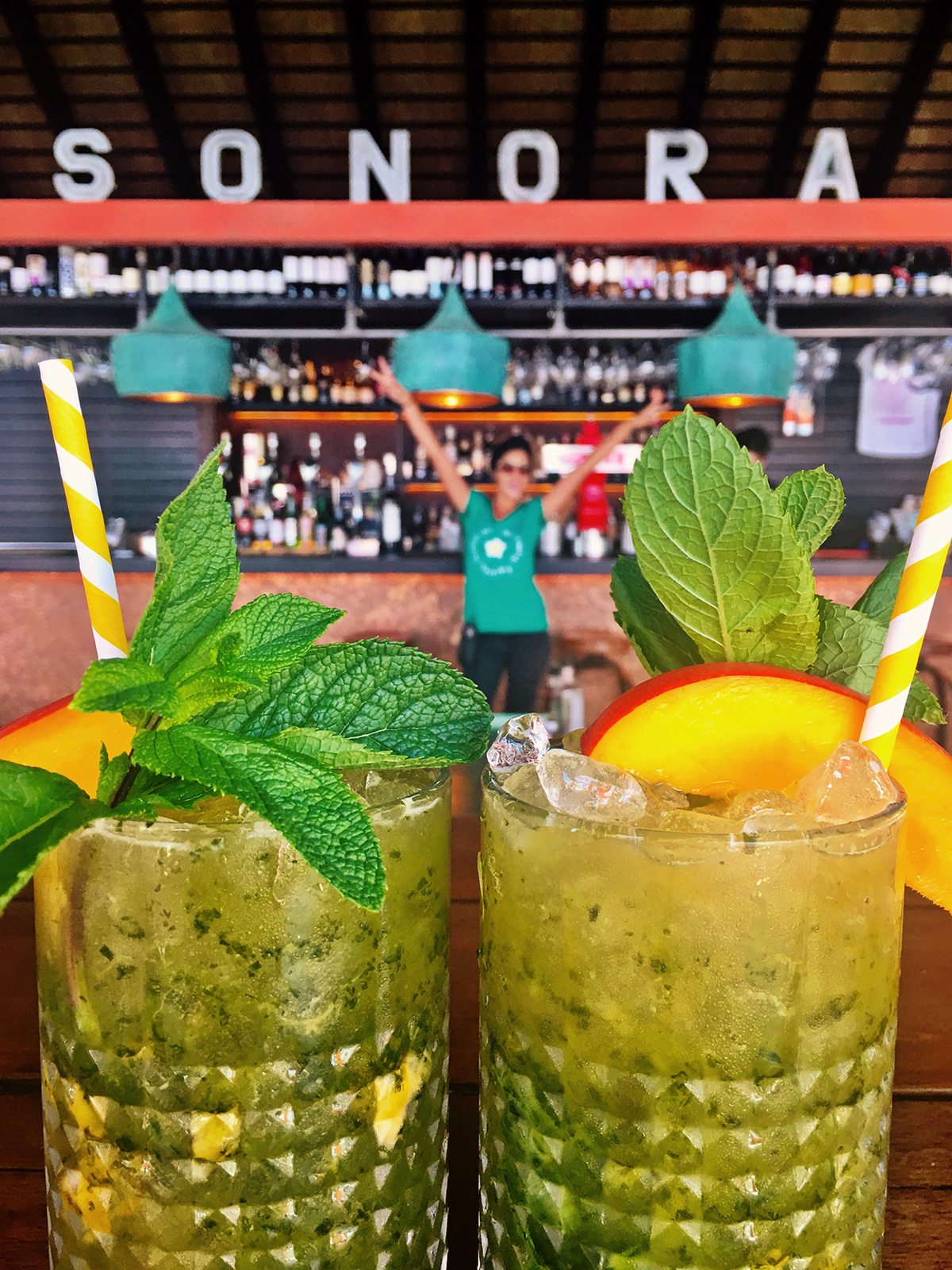 Sonora serve absolutely wonderful cocktails - note the use of paper straws, Sonora prides itself on being environmentally friendly