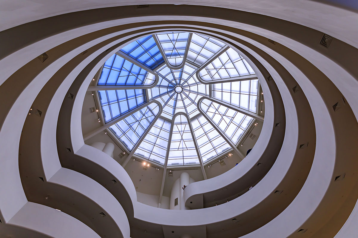 Guggenheim Museum, winding staircase with glass rooftop