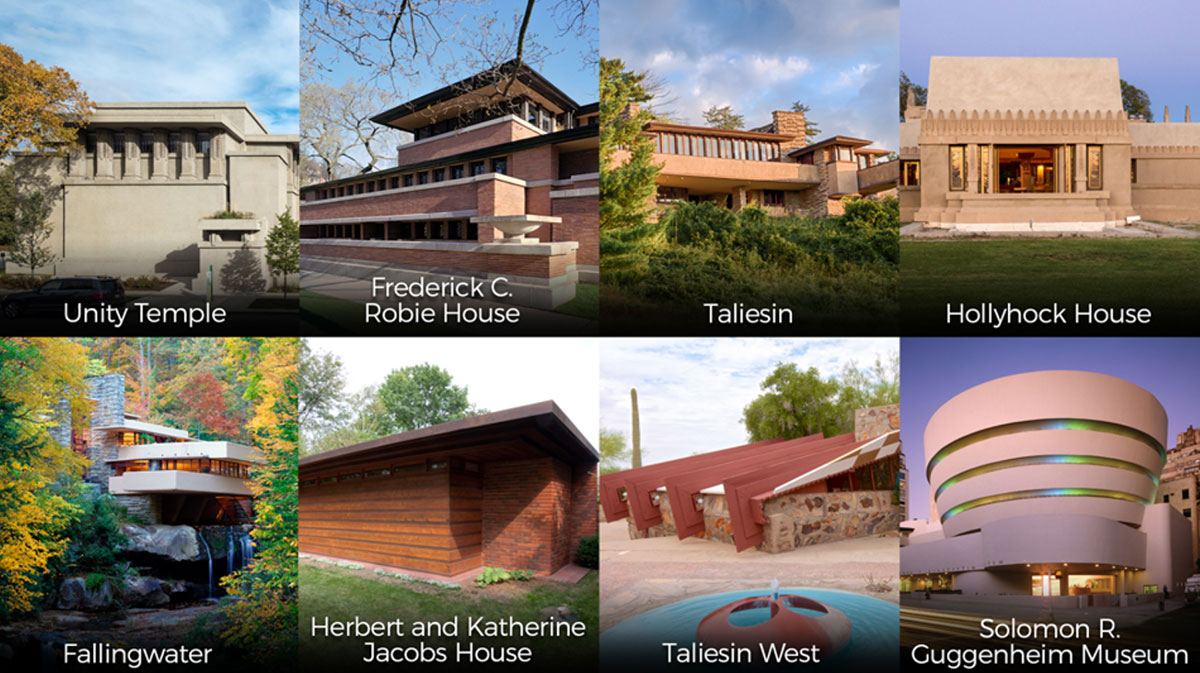 Frank Lloyd Wright sites inscribed to the UNESCO World Heritage list