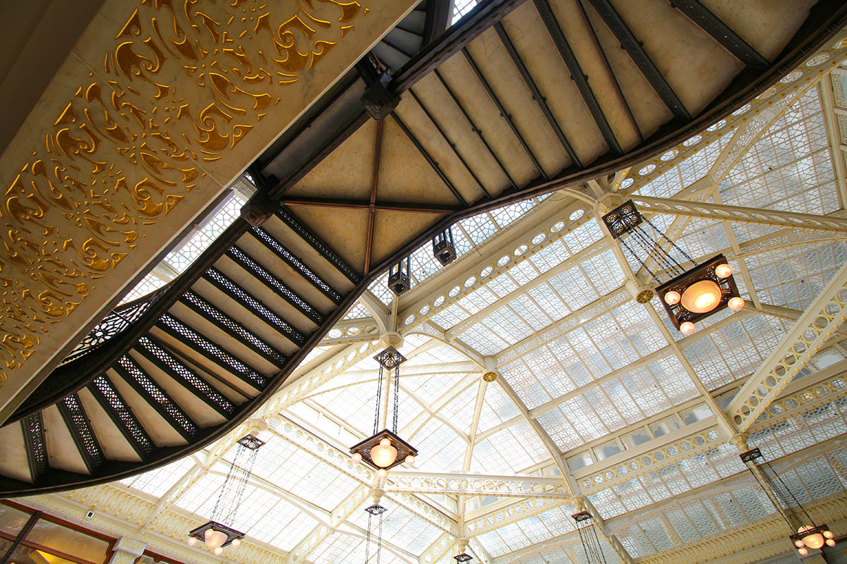 The Rookery's light court, redesigned by Frank Lloyd Wright, Chicago's financial district