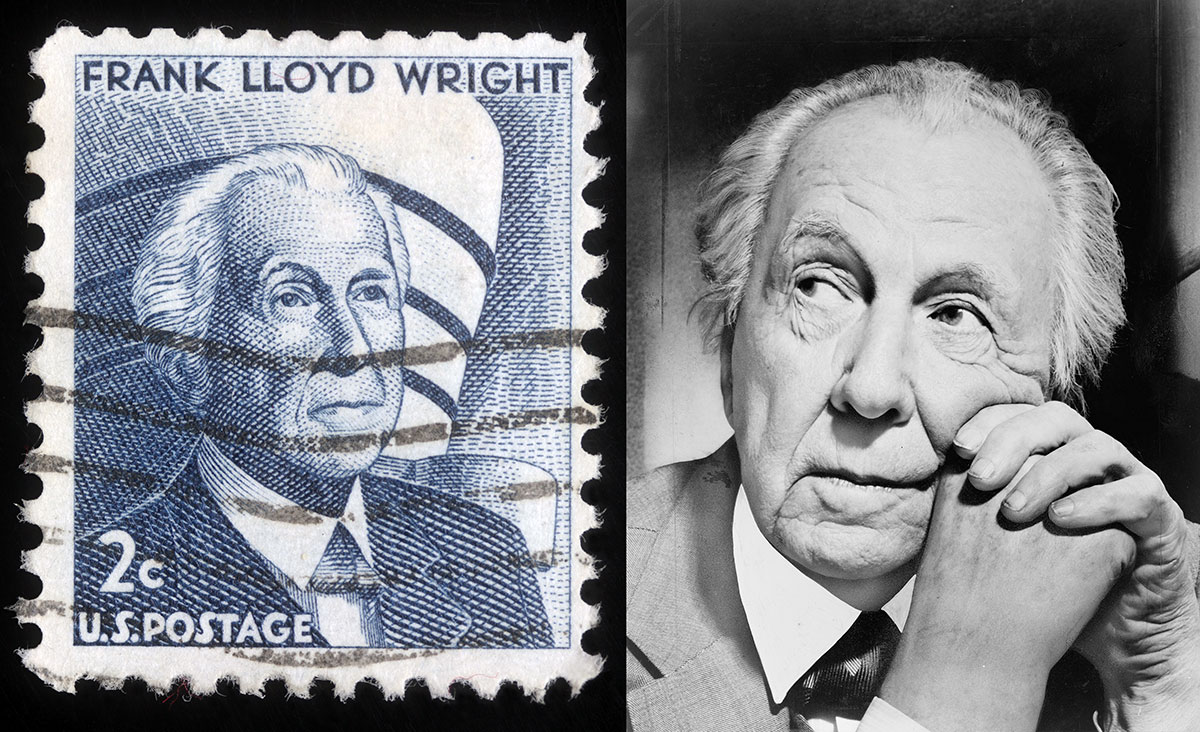 Portrait of Frank Lloyd Wright in 1954 and the US postage stamp made in his honour in 1965