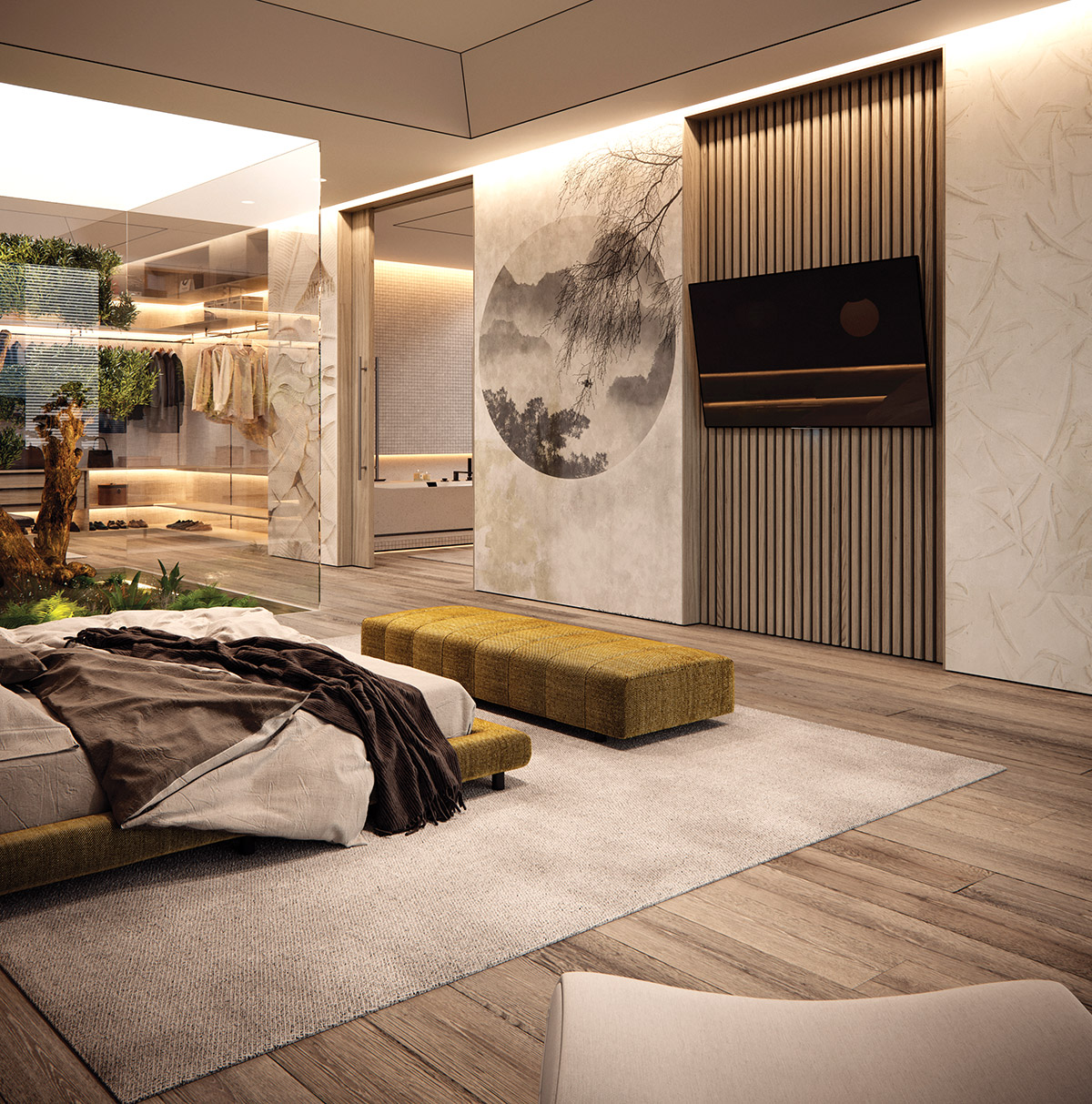 Living Green Interiors, Designing with Nature - Olive tree Suite