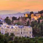 Malaga city at Sunset