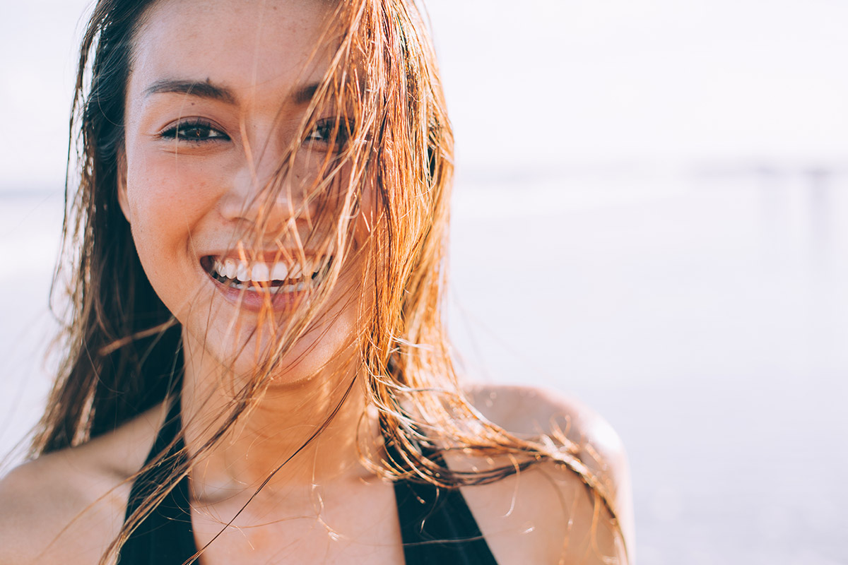 Young girl who has been swimming