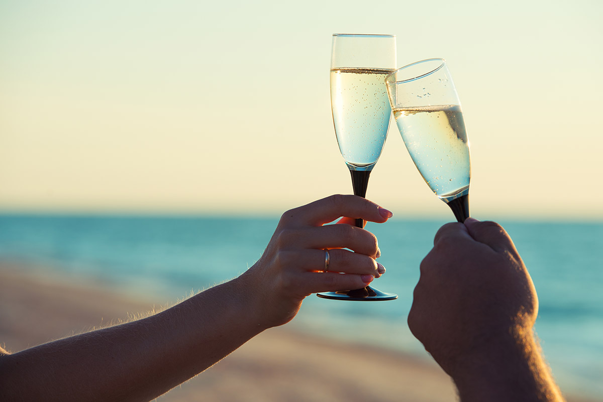 Cheers, two champagne glasses