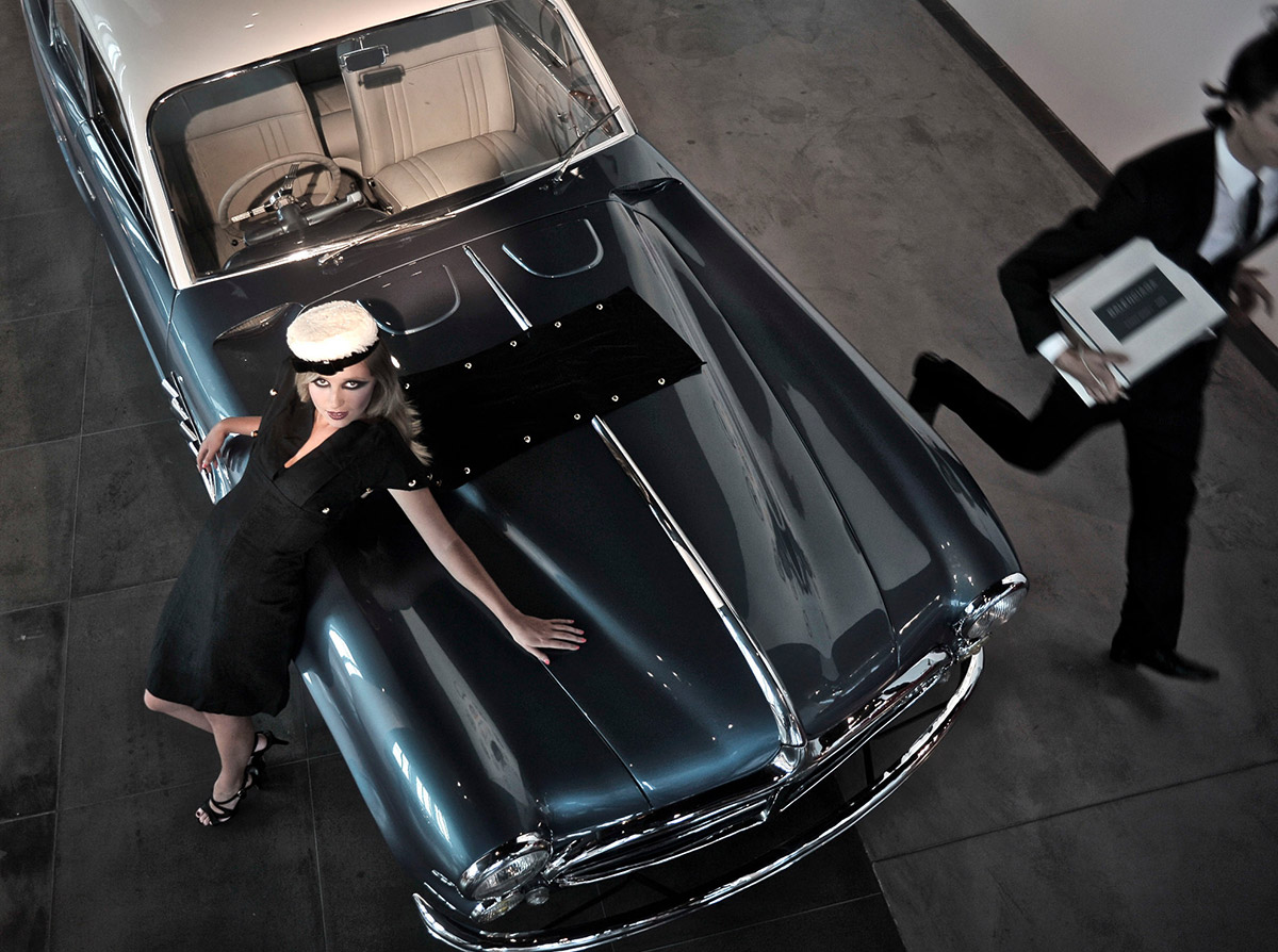 Classic car and fashionable lady