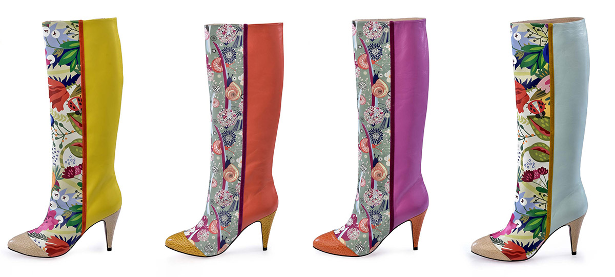 Colourful leather boots