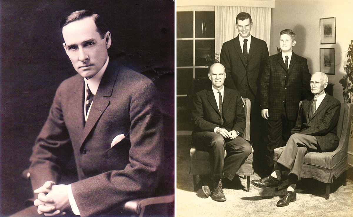Burt Byron Clover in 1904. Right: The three generations in 1961