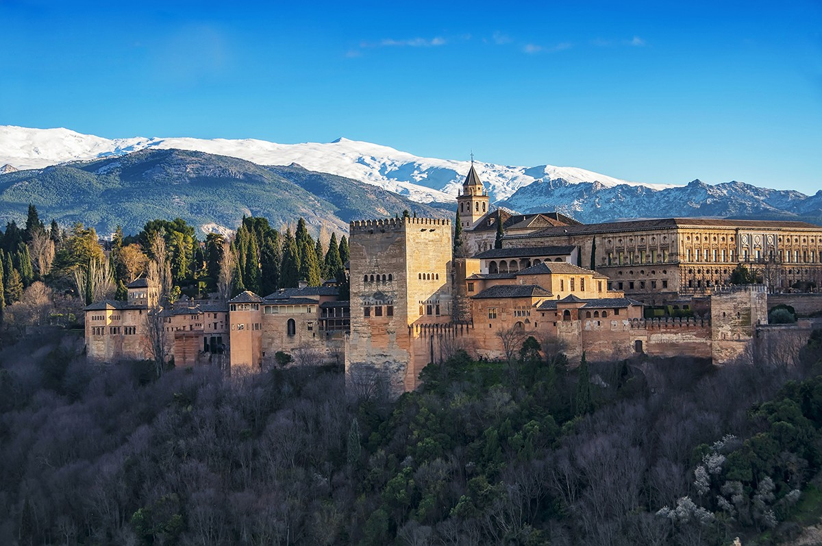 Sierra Nevada behind the Alhambra in Granada