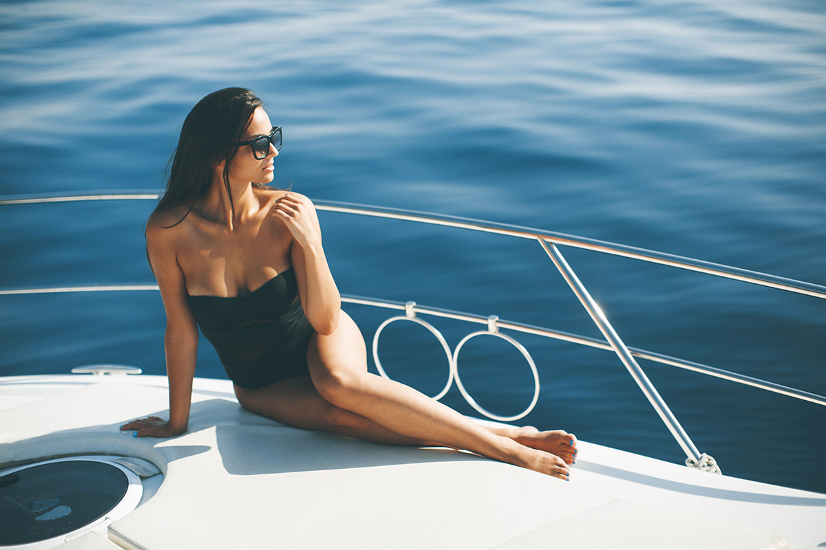 relaxing on a yacht