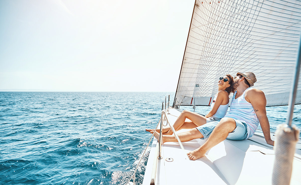 Couple enjoying a yacht
