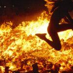 Jumping to bonfire on San Juan