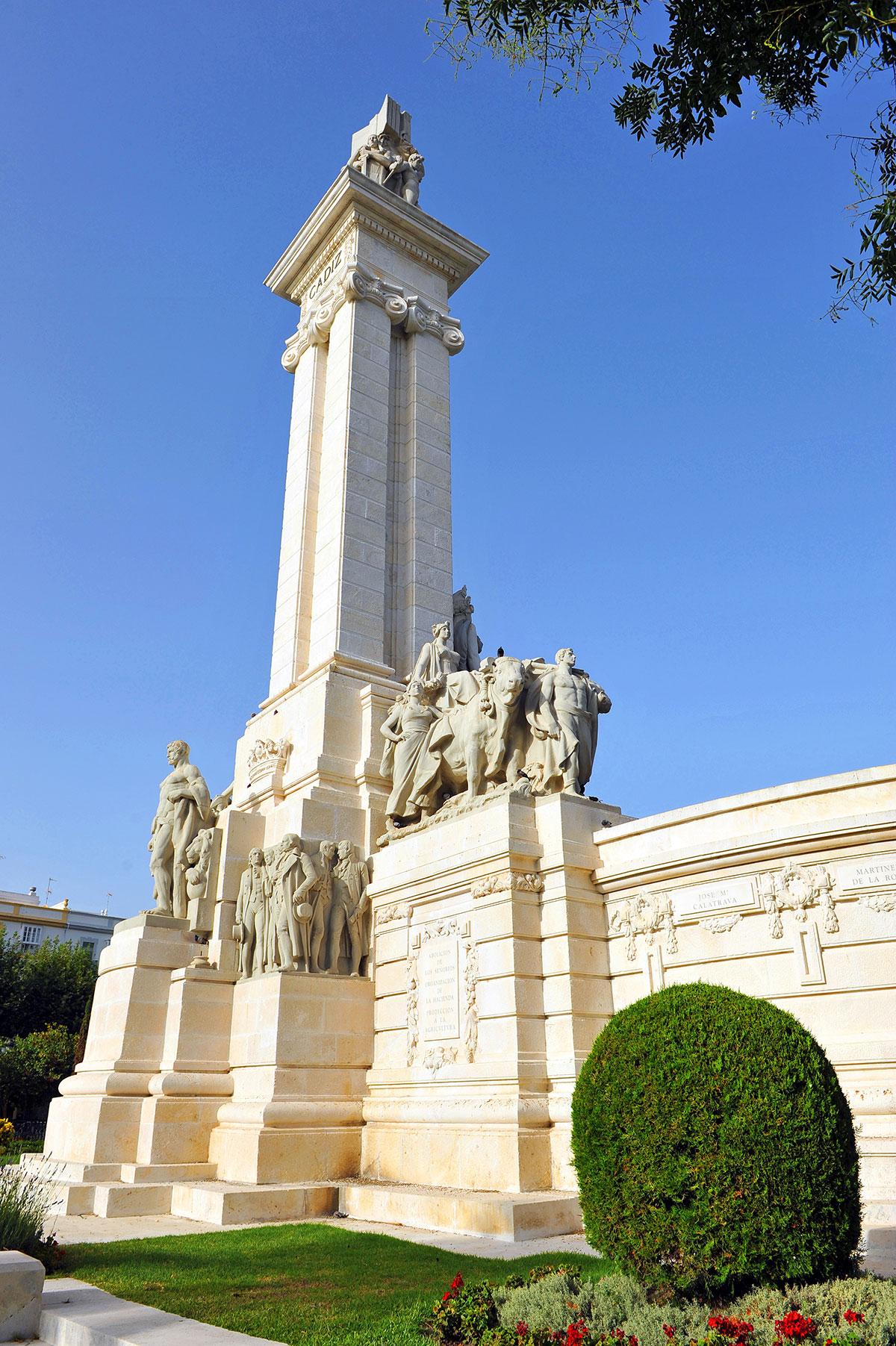 Commemorative monument in the Plaza de España, cadiz
