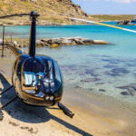 A helicopter on a beach