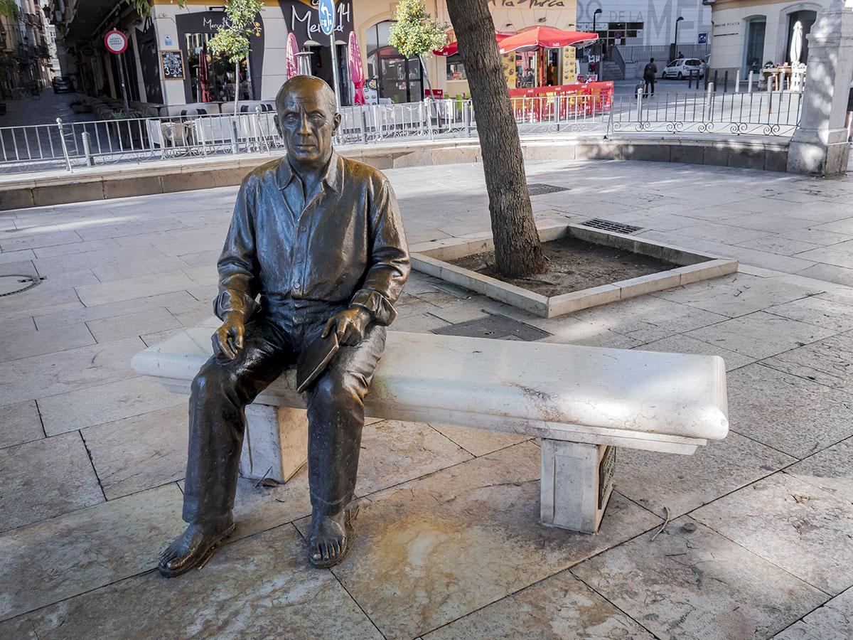 The statue of Picasso in the Plaza de la Merced