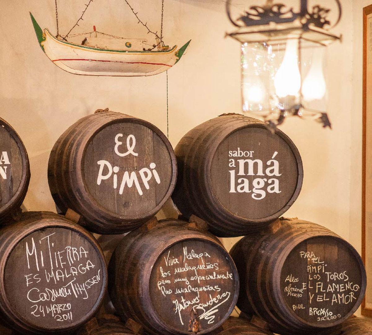 Malaga wine barrels at El Pimpi