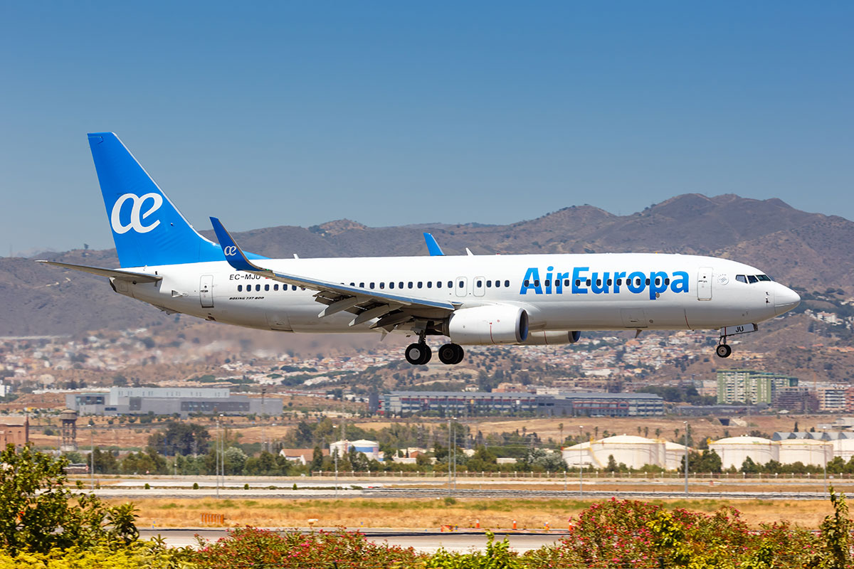 Air Europe lands at Malaga airport